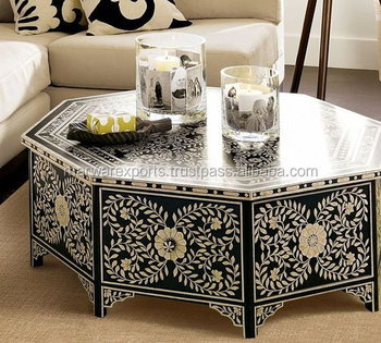 Black Bone Inlay Octagon Coffee Table