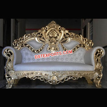 Gold Plated Wedding Furniture, Royal Weddings Two Seater Couch, Elegant Look Stage Chairs