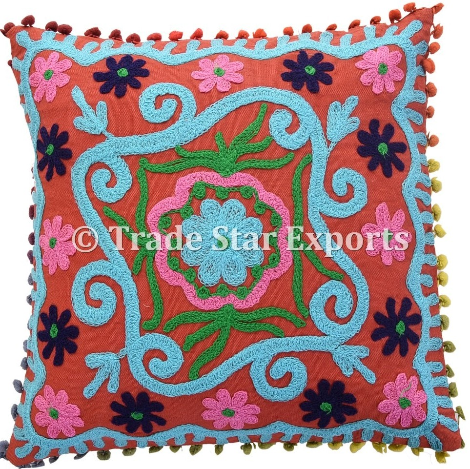 Hand Embroidered Cotton Fabric Embroidery Design Cushion over Decorative Pillow case covers
