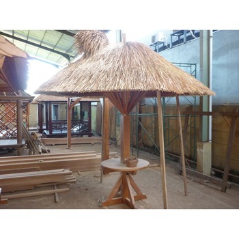Prefabricated wooden gazebo umbrella thatch roof for garden