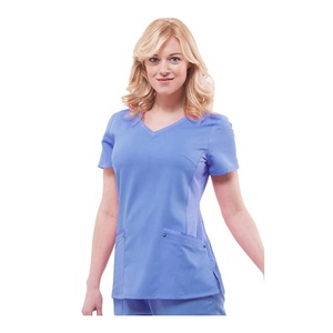 Solid Scrub Tops 65% Polyester 35% Cotton women Shirt