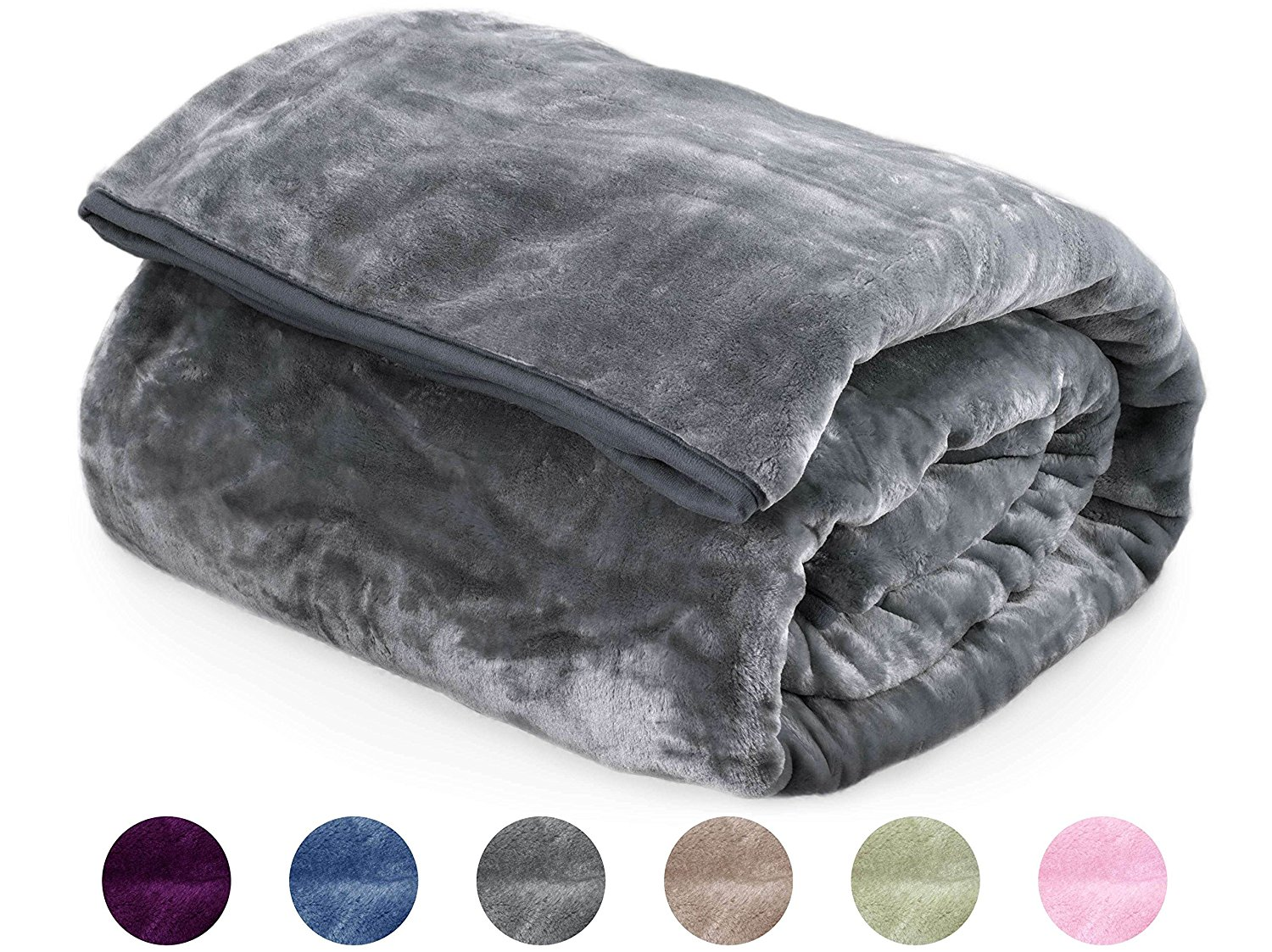 "Archangel Ultra Silky Soft Heavy Duty Quality Korean Mink Reversible Cloud Blanket Solid Ash Charcoal Queen 83""x94"""