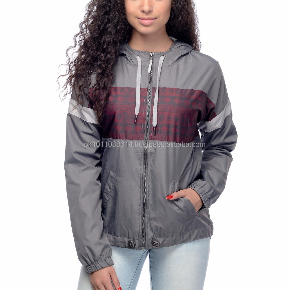 wholesale custom classical nylon coaches ladies wind breaker jacket with sublimation panel