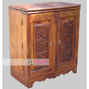 Indian Wooden Sheesham Wood Portable Wine Bar Counter Furniture