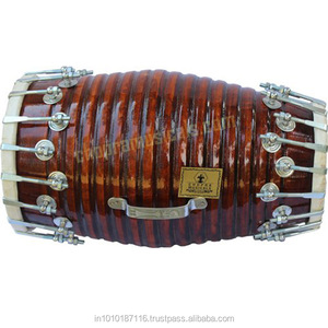 DHOLAK HANDMADE WOOD INDIAN FOLK MUSICAL INSTRUMENT DRUM NUTS N BOLT