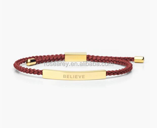 Modern Woven Friendship Bracelets Stainless Steel Gold Plated Bar Engraving Believe Adjustable Braided Rope Bracelet For Girls