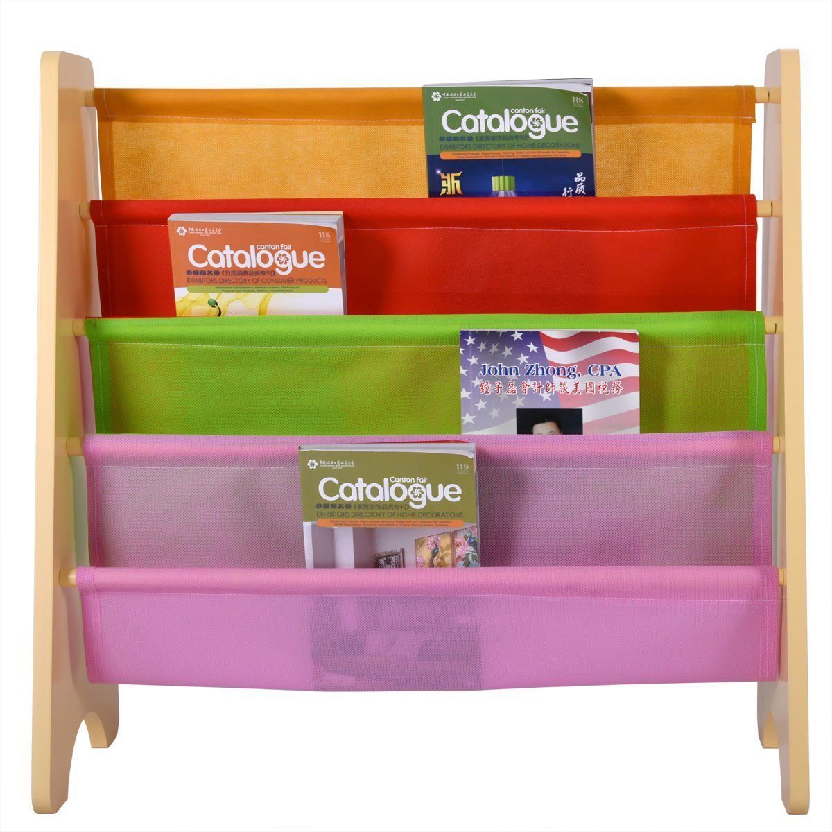 Get Quotations Wood Kids Book Shelf Sling Storage Rack Organizer Bookcase Display Holder Opt