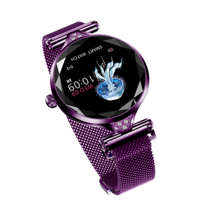 New design fashion girls watch H1 round led screen smart watch female heart rate waterproof IP67 blood pressure bracelet