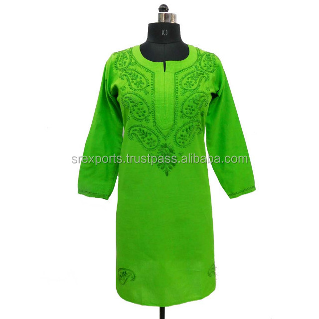Indian traditional green chicken embroidery kurtis long tunic colorful top
