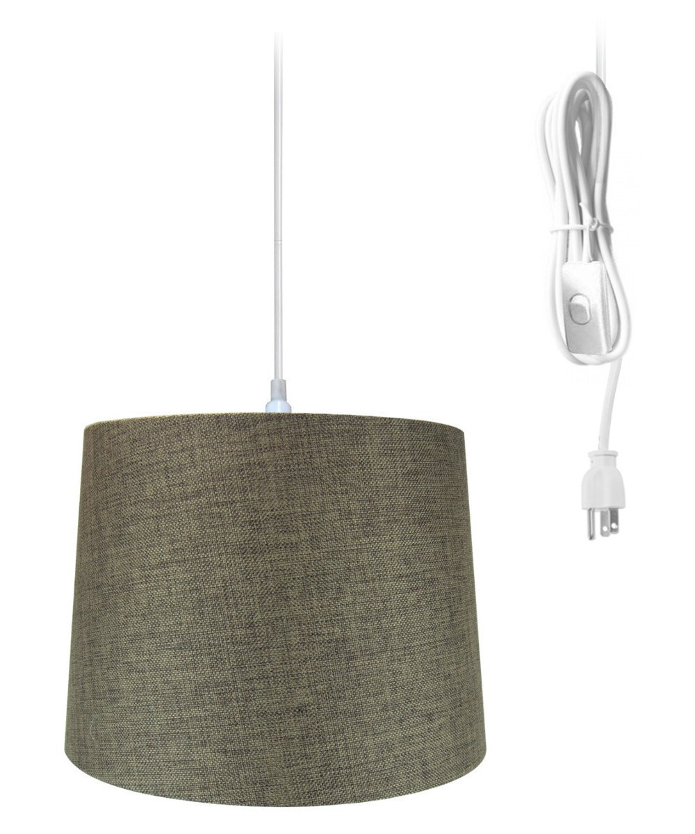 Plug-In Pendant Light By Home Concept - Hanging Swag Lamp Chocolate Burlap Drum Shade - Perfect for apartments, dorms, no wiring needed (Brown, White One-light)