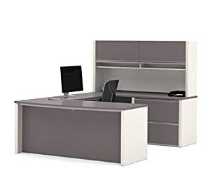 "Bestar U Shaped Desk W/Hutch 71.1""W X 96.5""D X 65.9""W Durable 1"" (25,4Mm) Commercial Grade Work Surface W/Melamine Finish Deluxe 2.5Mm Pvc Edges - Slate & Sandstone"