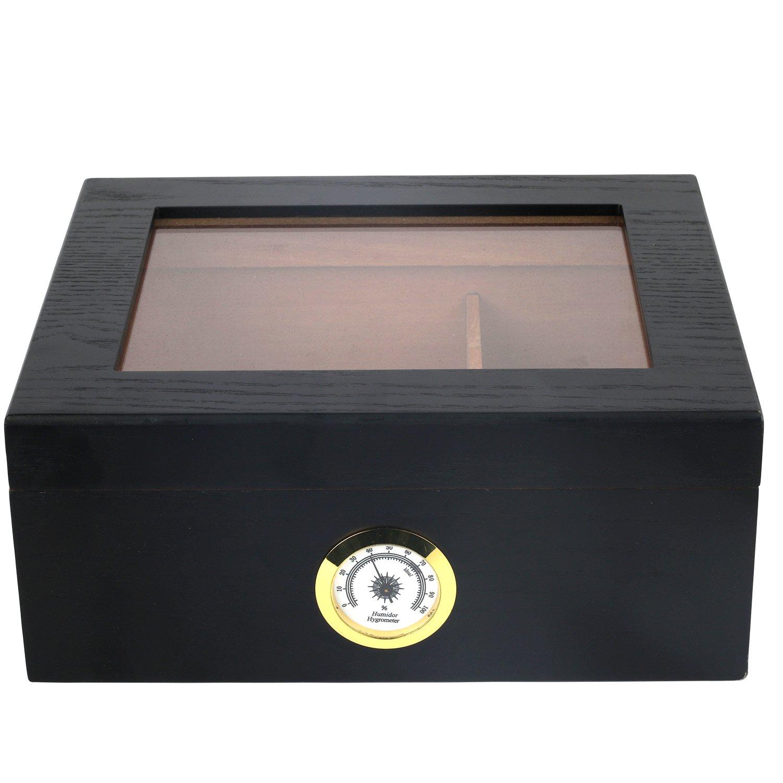 Mantello Black Oak Humidor 25-50 Cigar Desktop Humidor Glasstop