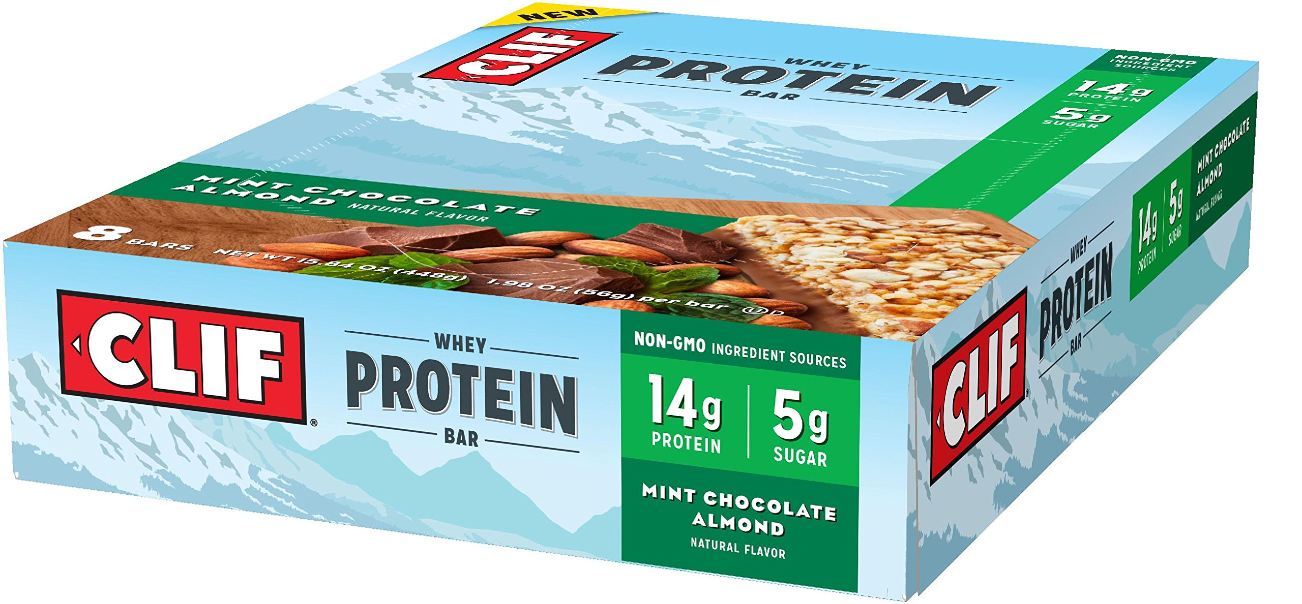 CLIF Whey Protein - Snack Bar - Mint Chocolate Almond - (1.98 Ounce Complete Protein Bar, 8 Count)