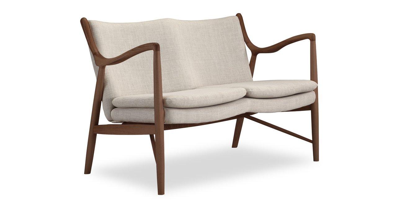 Kardiel Copenhagen 45 Mid-Century Modern Loveseat/2 Seat Sofa, Urban Hemp Twill/Walnut