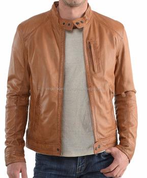 02556a6fd Men's Lambskin Leather Bomber Biker Short Body Wax Brown Leather ...