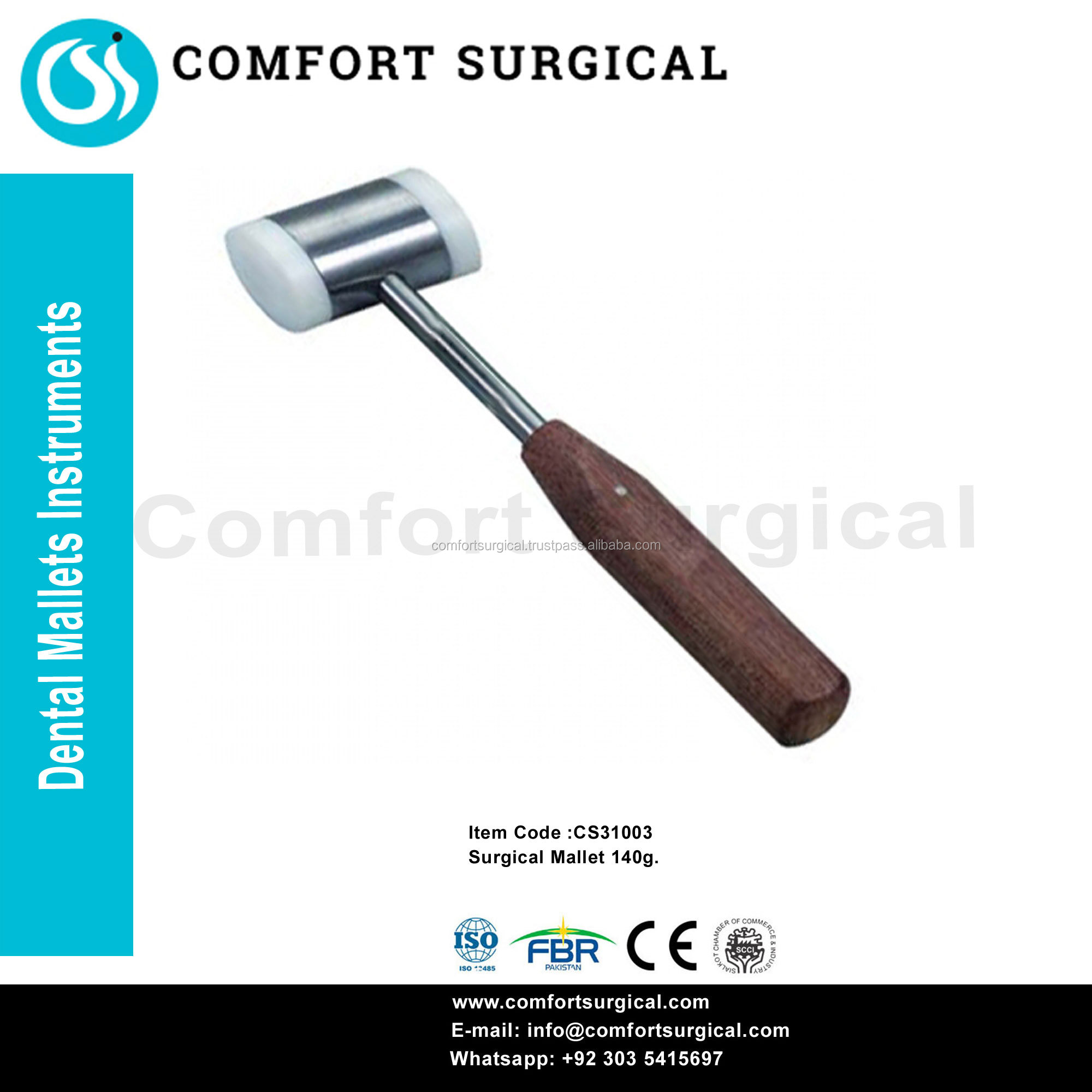 Dental Instruments Surgical Mallet 140g. CE ISO 13485 Approved