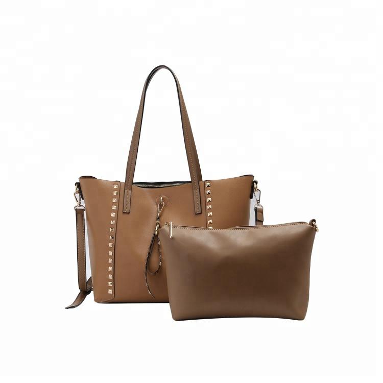 9f6584c325 guangzhou huadu shiling 2 pieces set handbag organizer Front rivet  decoration affordable brown leather handbags