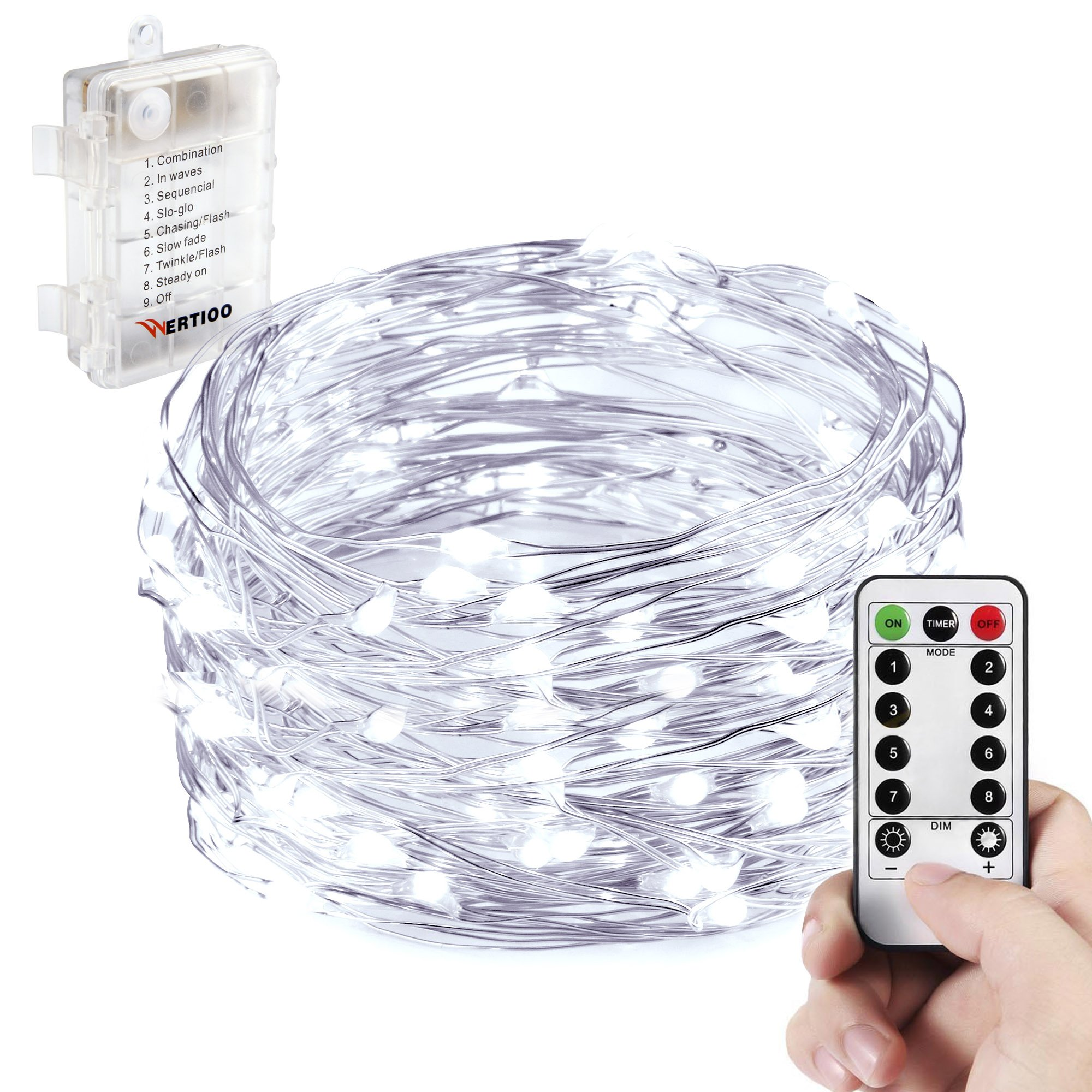 battery operated string lightswertioo fairy lighting with remote control