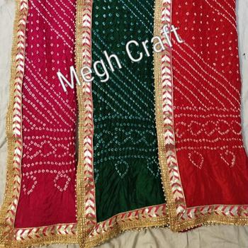 2cbea033f1 Indian Ethnic Wear Gota Patti Work Dupatta-Bandhej Dupatta For Salwar Kameez  Suit/Choli