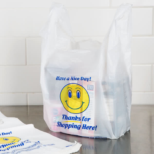 3c4a055c6 Wholesale Happy Face and Thank You Printed T-shirt Plastic Bags for Grocery/ Shop/Store