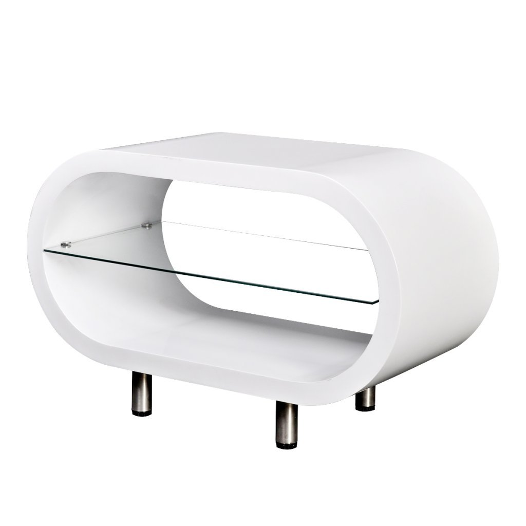 High Gloss White TV Stand/Coffee Table Oval modern elegant look and feel