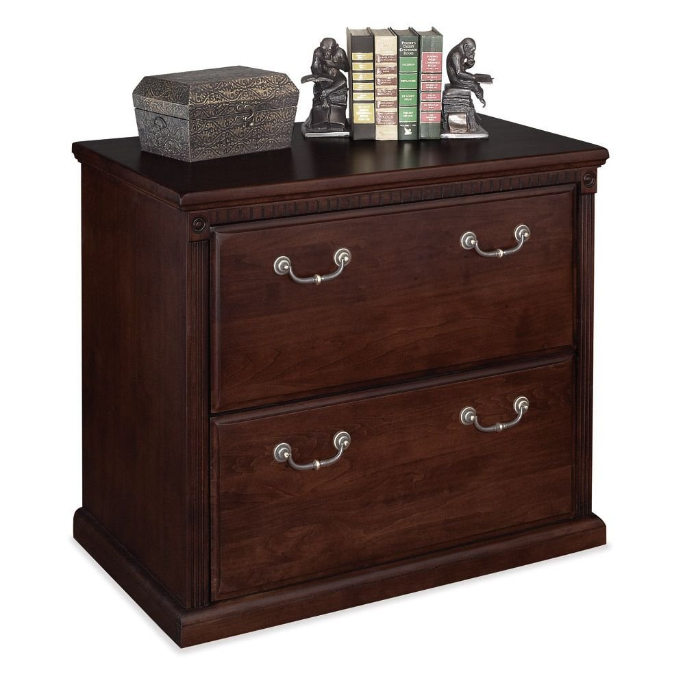 "Huntington Cherry Two Drawer Lateral File - 34"" W Dimensions: 34""W x 19.5""D x 29""H Weight: 162 lbs."