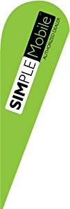 11ft x 3.3ft Custom Simple Mobile Simplemobile Teardrop Flag Set - Feather Banner Flag - INCLUDES 15ft POLE KIT AND HARDWARE - LIMITED TIME OFFER
