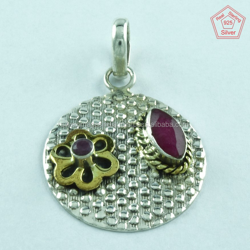 Ruby Cut 925 Sterling Silver Gemstone Pendant Wholesale Jewelry