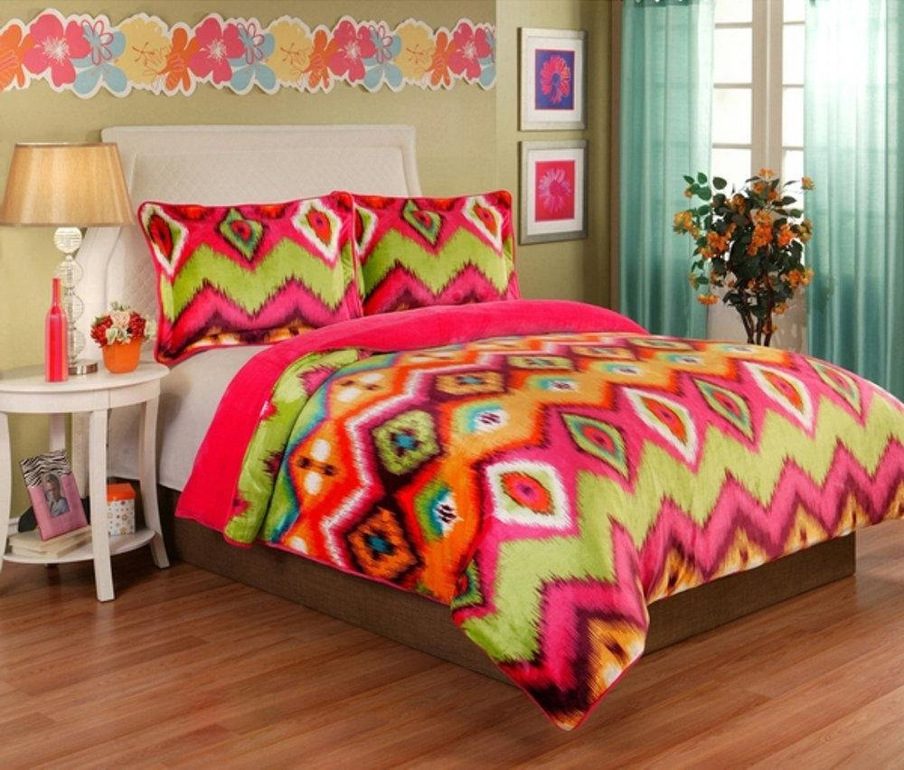 3pc Girls Hot Pink Aztec Comforter Full Queen Set, Vibrant Geometric Abstract Chevron ZigZag Bedding, Orange Lime Green, Rainbow Ikat Zig Zag Themed, Bright Tie Dye Hippie Pattern