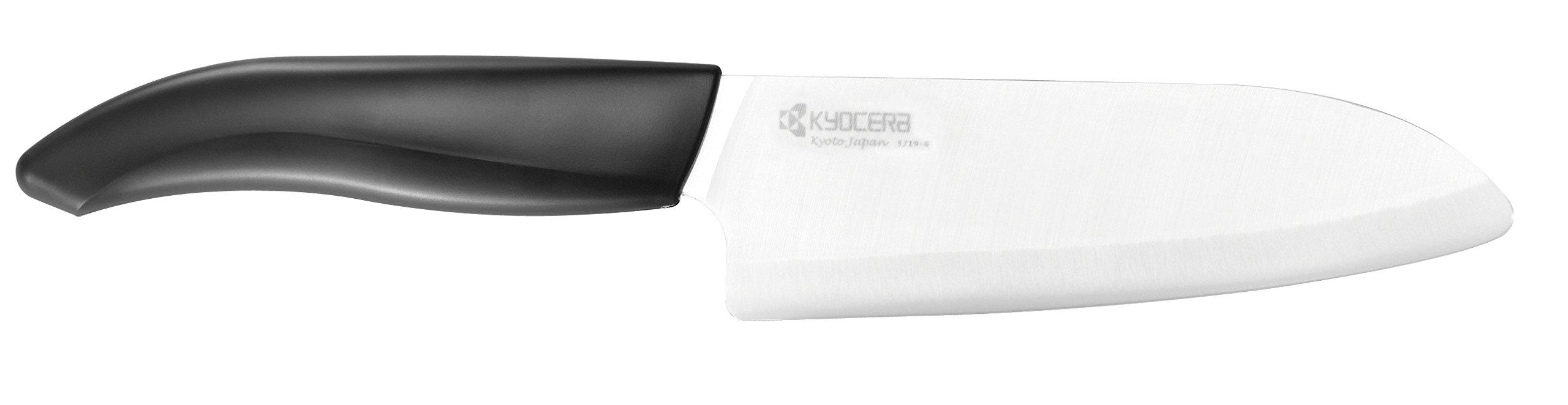 Kyocera Advanced Ceramic Revolution Series 5-1/2-inch Santoku Knife, Black Handle, White Blade