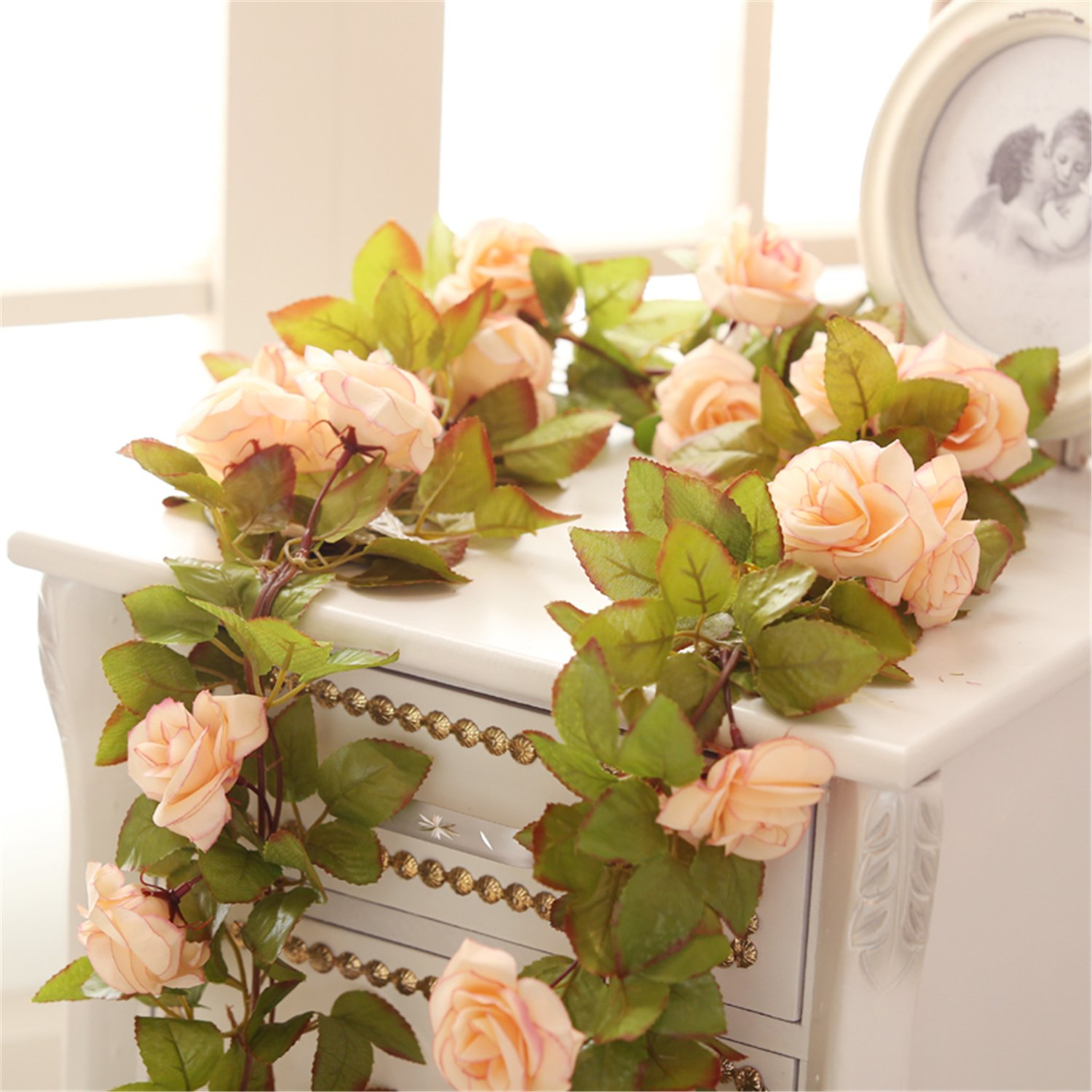 Felice Arts 2 Pack 11 Heads 7.2 Ft/pc Artificial Silk Fake Flowers Autumn Rose Vine Realistic Hanging Silk Rose Plants Wedding Home Party Arch Decor (Champagne)