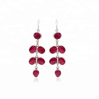 Custom jewelry manufacture 925 sterling silver ruby gemstone earring