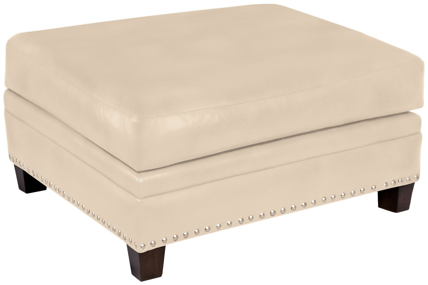 Omnia Leather Glendora Storage Ottoman in Leather, with Nail Head, Softstations White Winter
