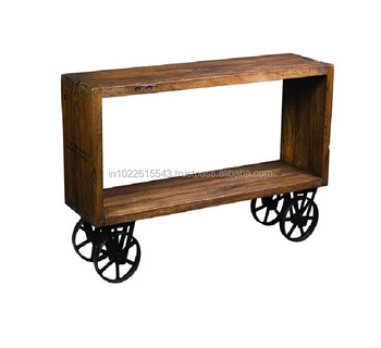 Industrial Wooden Console Table With Wheels 06737465b825