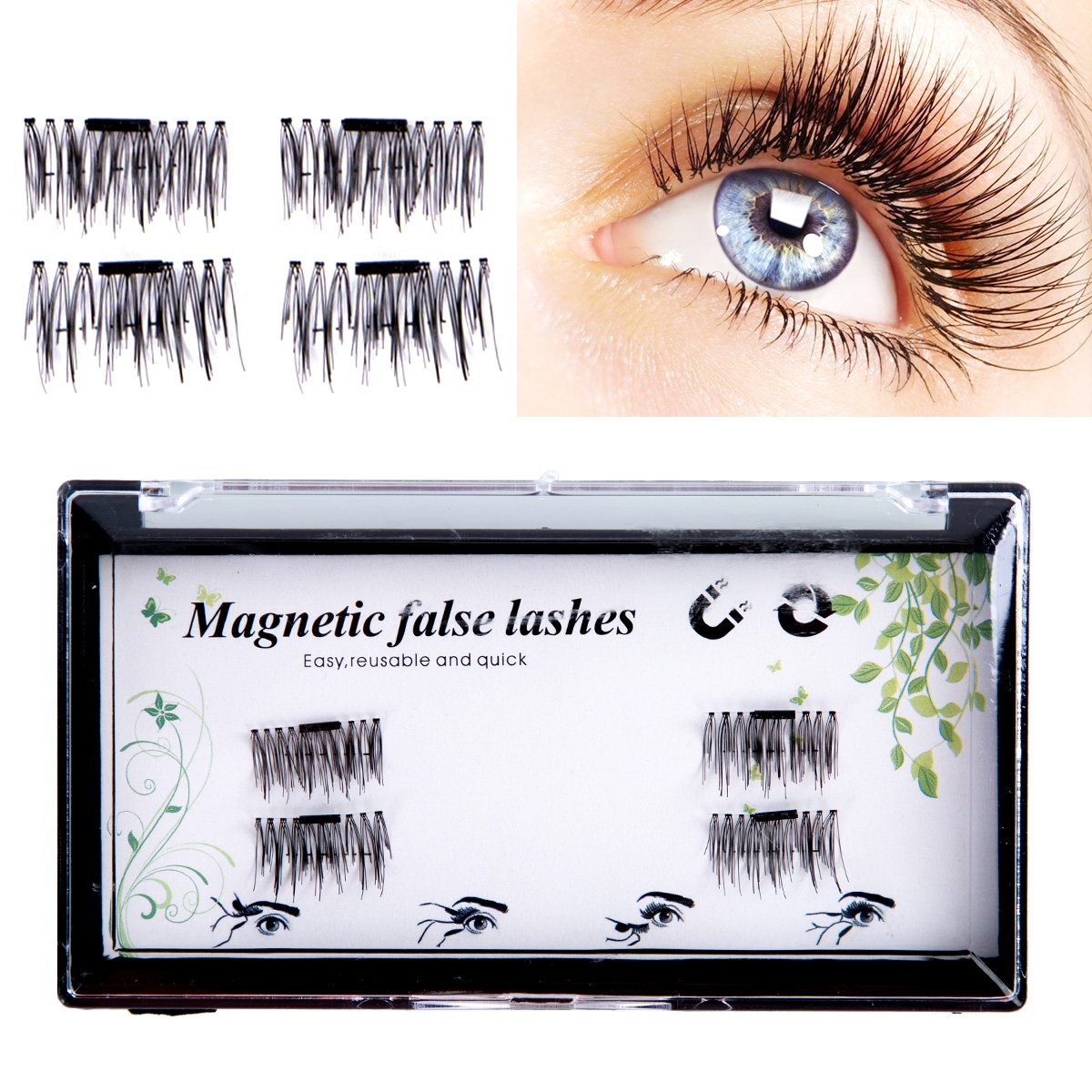 e1695cd0f35 Get Quotations · [FBA NEWEST VERSION] False Magnetic Eyelashes 3D Reusable  Fake Eyelashes, 2 Pairs 4