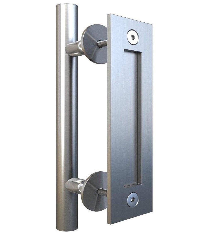 Hetai Door Pulls And Handles Hardware Pull And Flush Door Handle Set Sliding Barn Door Hardware Handle Stainless Door Handles Large Commercial Door Handles For Barn Front Door (Silver)