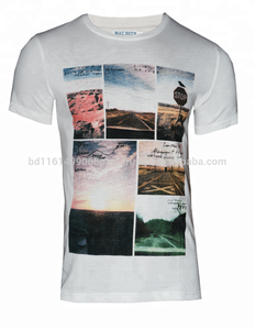 Polyester Cotton Round Neck Sublimation Printed Short Sleeve Men`s T-Shirt