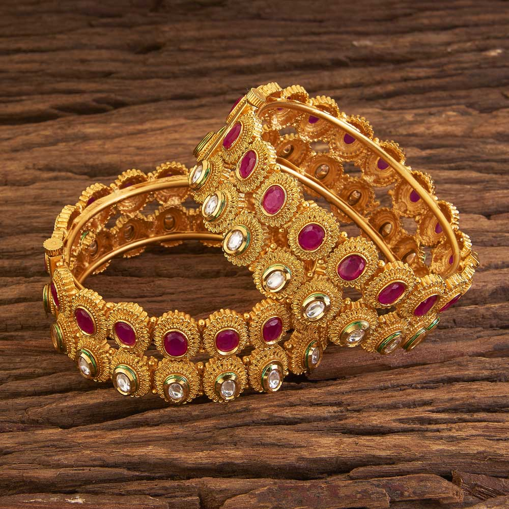 Gold plated Openable Trendy Bangles 17293 Ruby