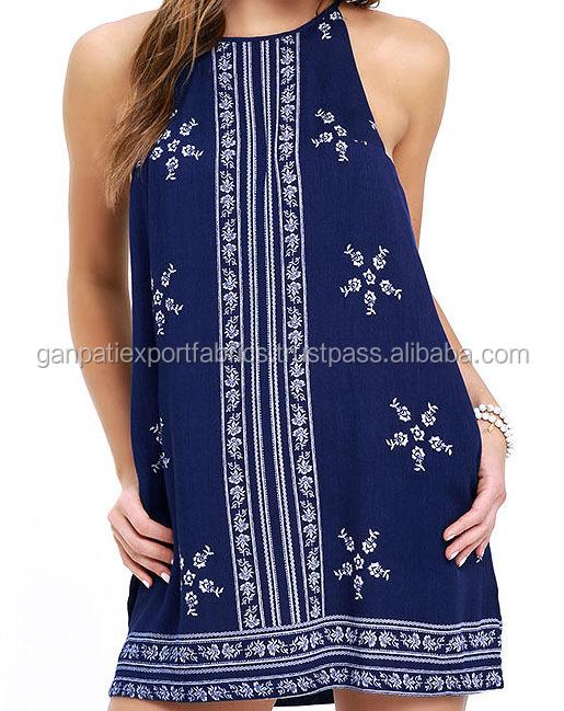 507c41b36caa5 Mediterranean Sea Navy Blue Print Halter Dress #rctd3286 - Buy ...