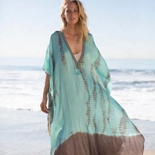 Hot Trend van Zomer Fabriek Prijs Rayon Tie Dye Hot <span class=keywords><strong>Bikini</strong></span> Cover up Cocktail Party Wear top aangepaste jurk bohemian poncho