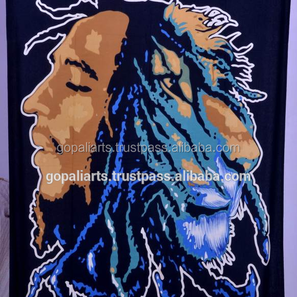 Cotton Marley Printed Bedcover Ethnic Indian Wall Hanging Decor Twin Tapestry