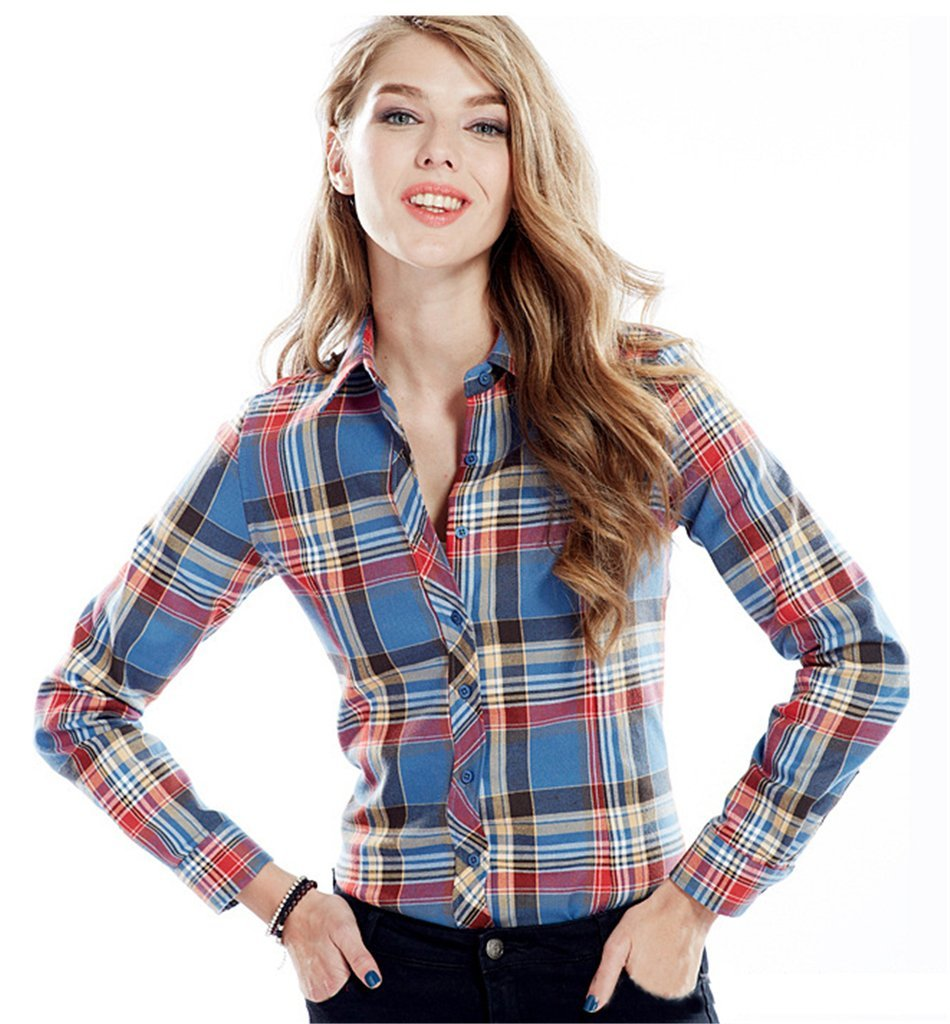Fortuning's JDS® Fashion long sleeve plaid button down shirt for ladies & girls