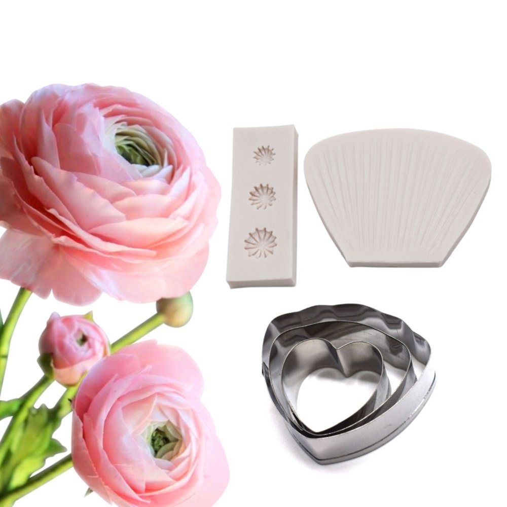 AK ART KITCHENWARE Poppy petal Decoration Tool Leaf and Flower Tool Kit Stainless Steel Cookie Cutter Set Silicone Veining Mold Petal Sugar Flower Making Tool A346&VM001