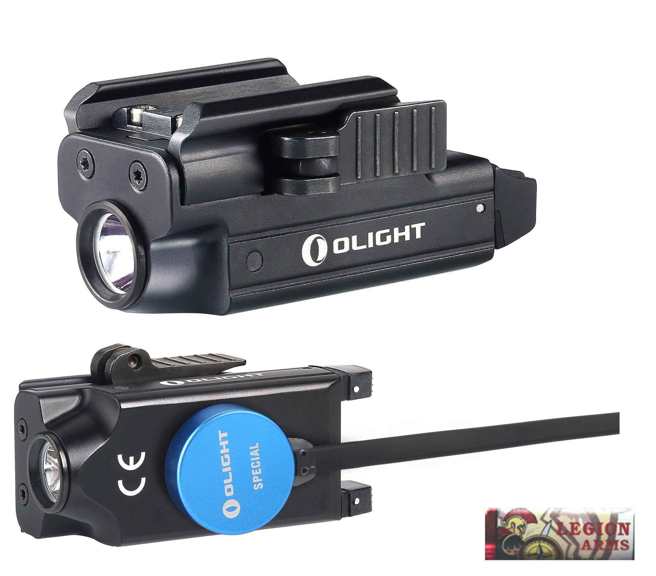 Olight PL-MINI valkyrie 400 Lumen LED Rechargeable compact pistol light, Build-in Lithium Battery, charging cable, quick release mount for glock, s&w, springfield, sig sauer, etc w/ LegionArms sticker