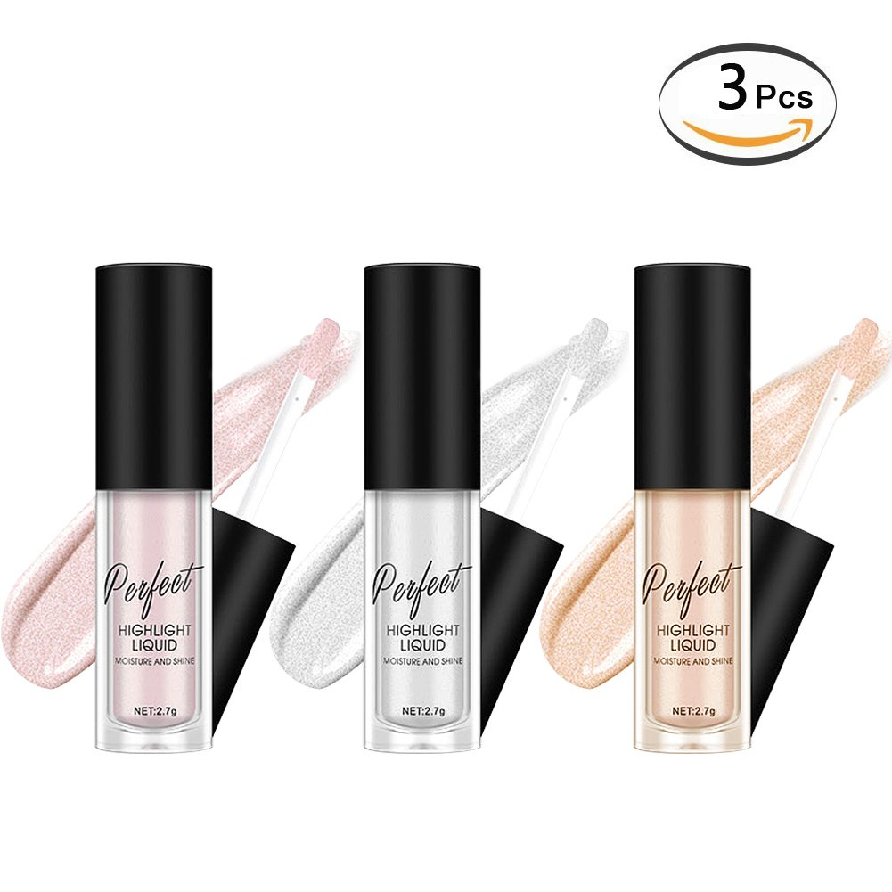 3 Colors Glitter Liquid Eyeshadow Highlighter Brighten Concealer Face Eye Cosmetic Glow Shimmer Liquid Highlighter Makeup Glitter Brighten Pigments Makeup Cover Perfection Tip Concealer (3 Pcs)