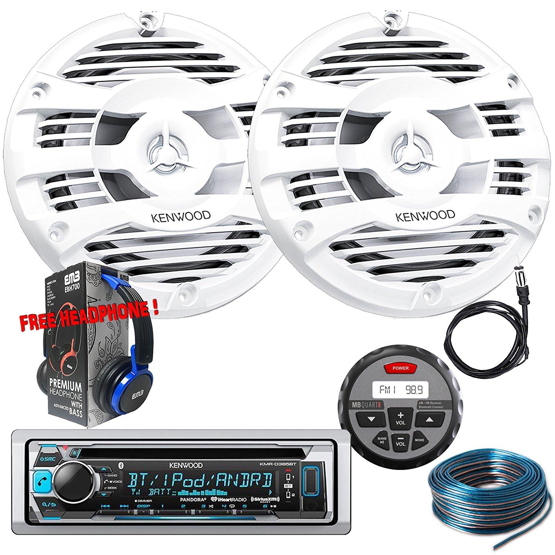 Package Kenwwod KMR-D365BT Bluetooth Marine CD Receiver + 1 Pair KFC-1653MRW Marine Stereo Speaker + GMR-1 + Antenna + 100FT Installation Wire + Free EMB Headphone For ATV UTV Boat Yatch