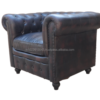 Industrial Antique Black Chesterfield Sofa Chair, Vintage Black Leather  Chesterfield Sofa Chair