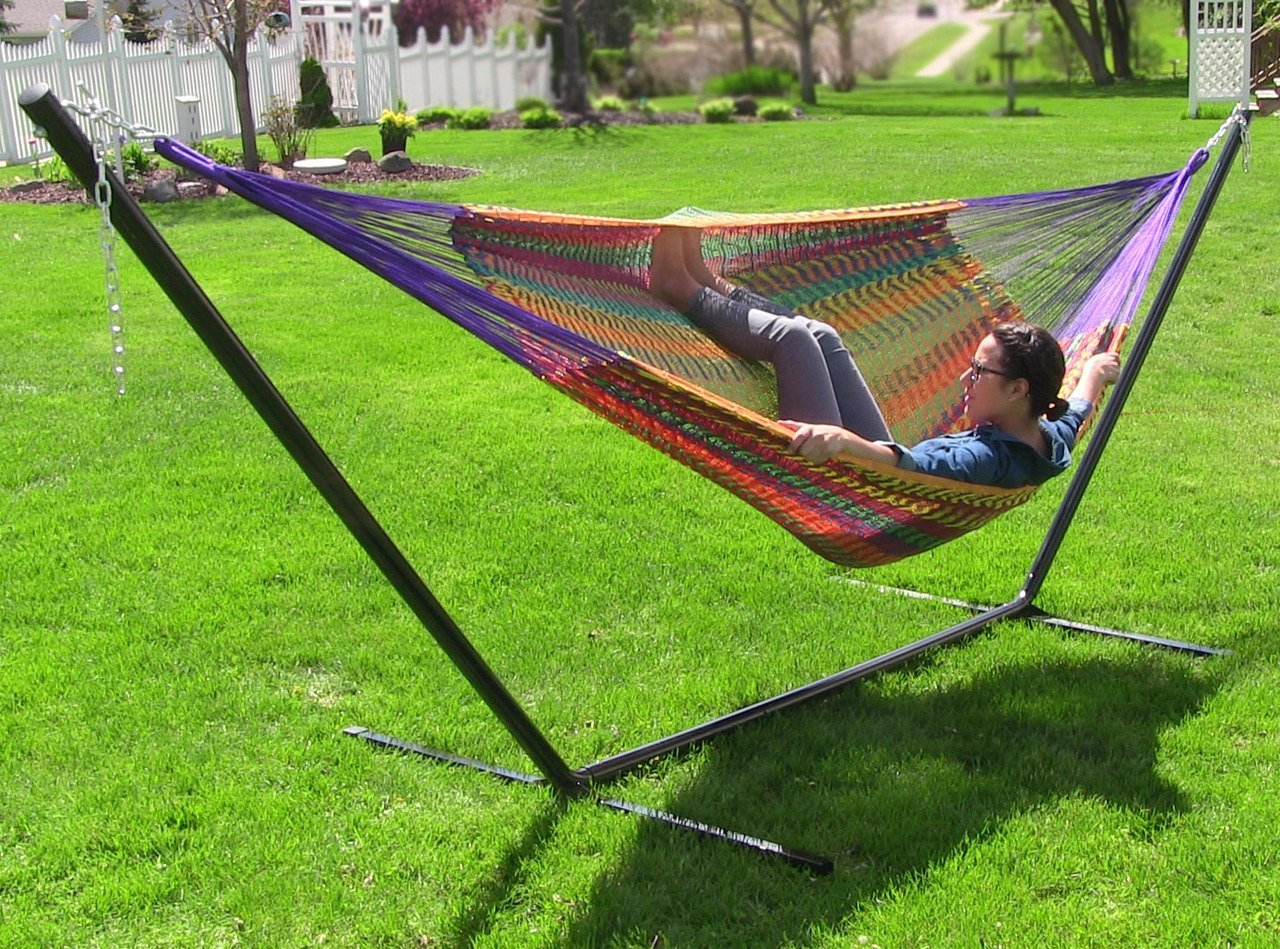 Sunnydaze Hand-Woven XXL Thick Cord Mayan Family Hammock with 15 Foot Stand, Multi-Color, 400 Pound Capacity