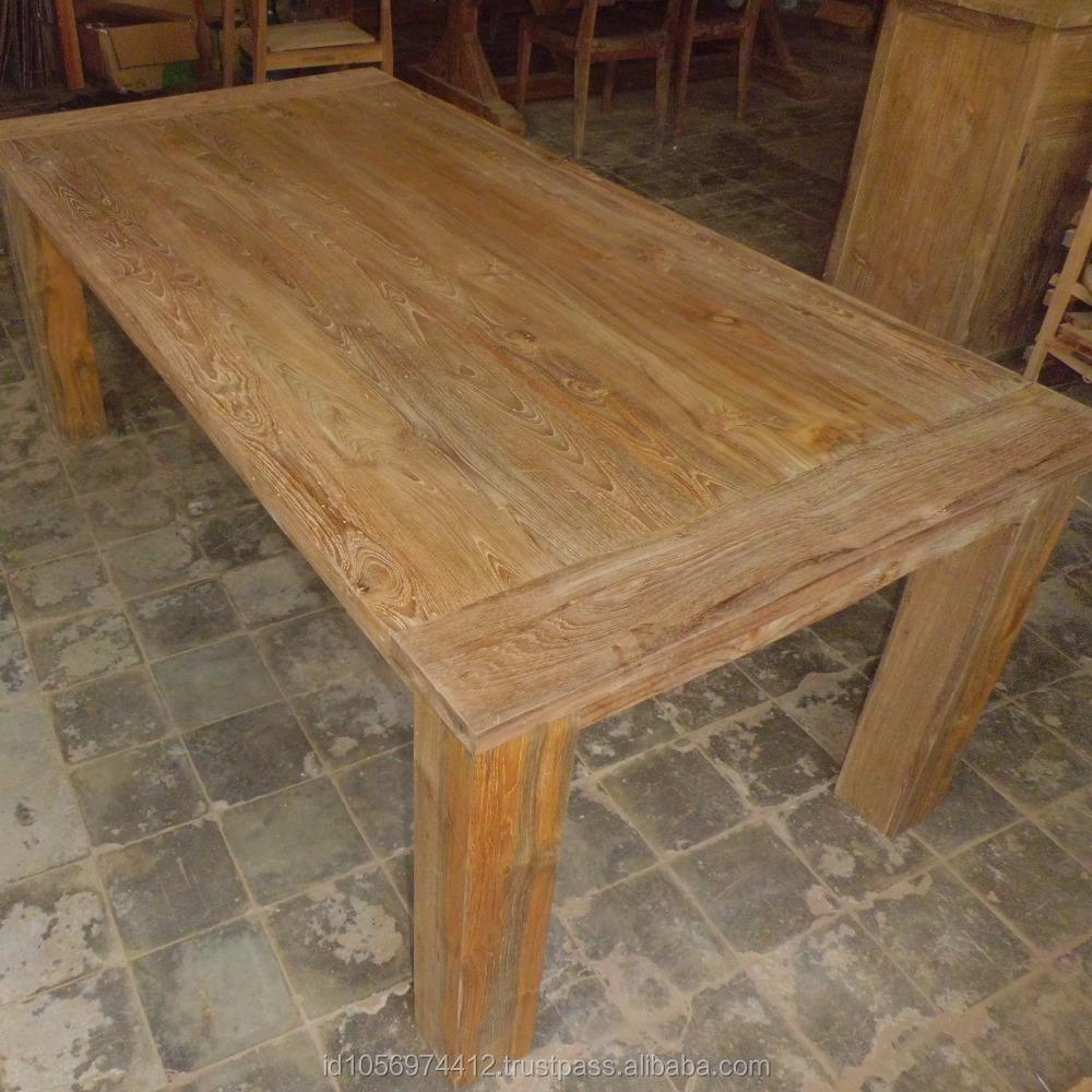 Rustic vintage teak wood reclaimed dining table indonesia furniture