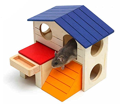 Hamiledyi Dwarf Hamster House Durable Odorless Non-Toxic Deluxe Two Layers Wooden Hut For Hamster Toys